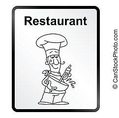Restaurant Information Sign - Monochrome comical restaurant...