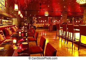 Restaurant Interior at Night
