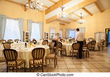 Restaurant interior - Interior of restaurant before a...