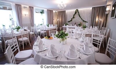 Restaurant interior ready for banquet indoors