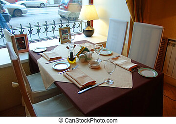 Served table - Restaurant interior. Served table.