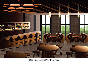 Restaurant interior with industrial look - A vector ...