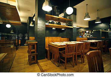 restaurant interior with wooden furniture, lighting ...