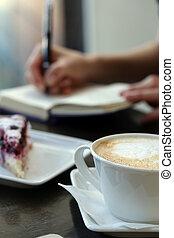 restaurant., kaffeetasse, tisch