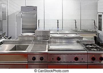 Restaurant kitchen - Interior of restaurant kitchen with...