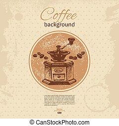 restaurant, koffie, menu, hand, achtergrond., koffiehuis, ouderwetse , getrokken, coffeehouse, bar