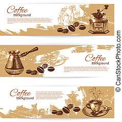 restaurant, koffie stel, ouderwetse , backgrounds., koffiehuis, menu, coffeehouse, spandoek, bar