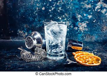 restaurant., koktél, alkoholista, kocsma, vagy, ital, felüdítés, friss, szervál, hideg, bár