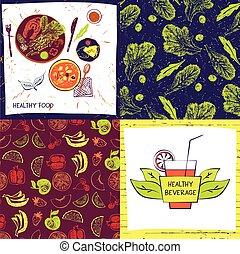 restaurant., komplet, kolor, menu, ilustracja, dowcip, kawiarnia, tło