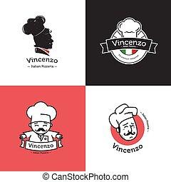restaurant., komplet, restauracja, set., klasyk, logotype, wektor, retro, pizza, symbole, włoski