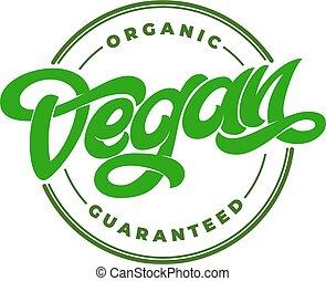 restaurant, lettrage, transparent, organique, illustration., peint, guaranteed, menu., conditionnement, vegan, étiquette, nourriture, vecteur, logo, emblème, cercle, café, timbre, manuscrit