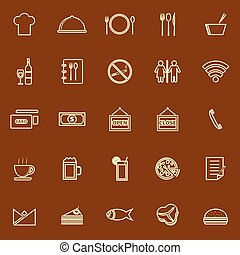 Restaurant line color icons on brown background