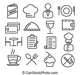 Restaurant Line Icons - Gray Restaurant Line Icons on white...