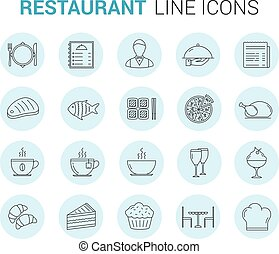 Restaurant Line Icons - Restaurant and cafe - 20 line icons,...