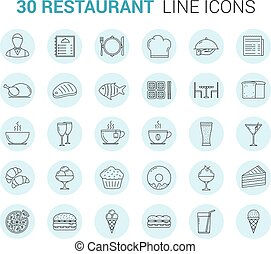 Restaurant Line Icons - Restaurant and cafe - 30 line icons,...