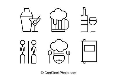 Restaurant line icons set, cafe, bar, food delivery vector Illustration on a white background