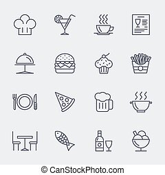 Restaurant line icons vector set