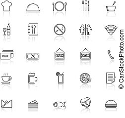 Restaurant line icons with reflect on white background