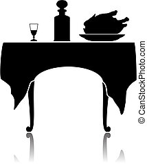 Restaurant little table - Silhouette of a restaurant little...