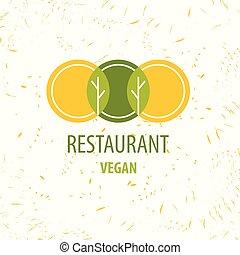 restaurant, logo., vegan, vecteur, gabarit, restourant.