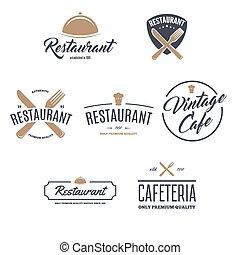 Restaurant Logos, Badges and Labels Design Elements set in vintage style. Objects retro vector illustration.