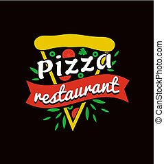 restaurant, logotype, promotionnel, clair, savoureux, pizza