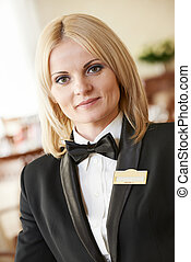 restaurant manager woman at work place - beautiful ...