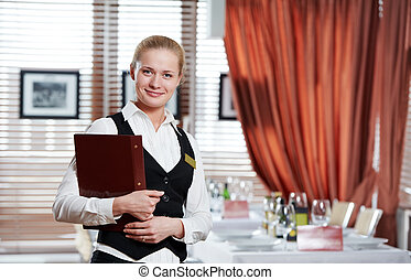 restaurant manager woman at work place - Happy beautiful...