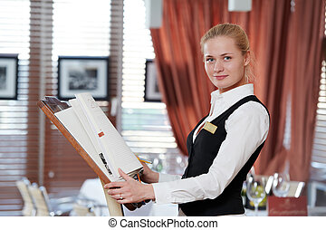restaurant manager woman at work place - Happy beautiful ...