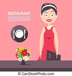 Restaurant Manager woth Flowers on Pink Background Vector Design. Beautiful Woman in Red Dress with Plate, Knife and Fork Symbol.