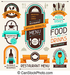 Restaurant menu, banners and ribbons, design elements.