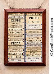 Restaurant menu board