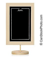 Restaurant menu board vertically