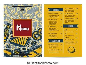 Restaurant menu brochure with hand drawn graphic