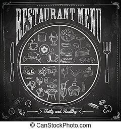 illustration of different food item in restaurant menu chalk board
