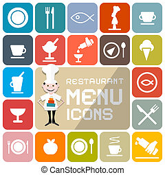 Restaurant Menu Colorful Vector Flat Design Icons
