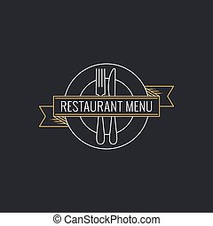 Restaurant menu concept. Plate with fork ,knife