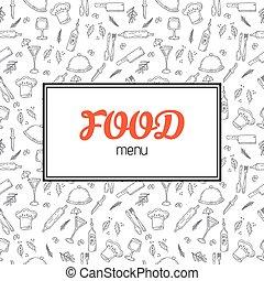 Restaurant menu design. Menu template with hand drawn background