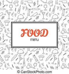 Restaurant menu design. Menu template with hand drawn background