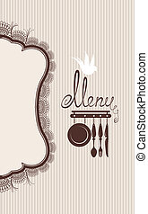 Restaurant menu design with lace table napkin and hand drawn text on stripe background.