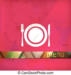 restaurant menu design with plate, fork and knife