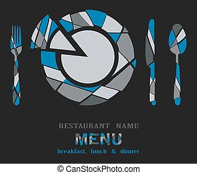 restaurant menu geometric on black background