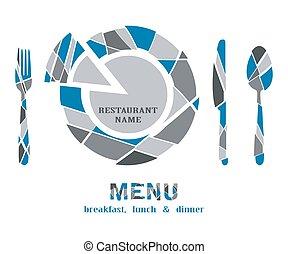 restaurant menu geometric on white background