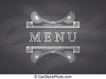 Restaurant Menu Headline with Chalkboard Background