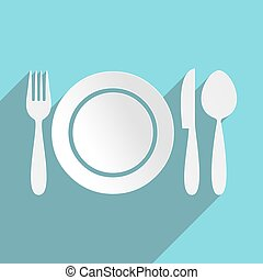 Restaurant menu icon plate with cutlery flat design
