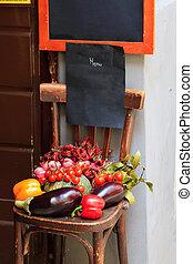 Restaurant menu on a chair