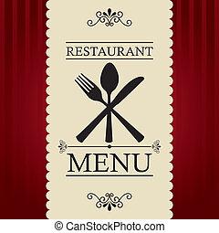 restaurant menu over red background. vector illustration