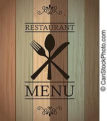 restaurant menu over wooden background. vector illustration