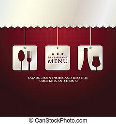 restaurant menu presentation in red