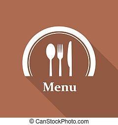 restaurant menu retro poster with a long shadow